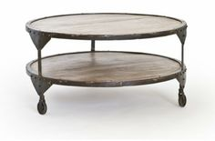 Bombay sofabord bord sofa table round brown rustik rustic metal shelf wheel swedish design rge www.