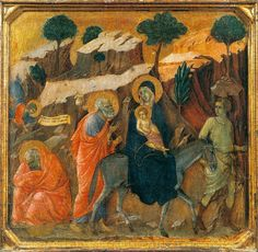 Maestà (front, predella L) The Flight into Egypt (Duccio di Buoninsegna, 1308-11)b