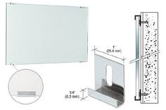 """CRL Nickel Plated Dallas Mirror Clips for 5/16"""" Mirror Pack of 100 by CR Laurence by CR Laurence. $18.53. Most Popular Wide Clip For 1/4"""", 5/16"""" and 3/8"""" (6, 8, and 10 mm) Glass or Mirror CRL's Dallas Mirror Clips are available for three glass or panel thicknesses. Fabricated from 21 gauge steel, the slotted back allows for a height adjustment of 1/2 inch (12 millimeters). The clip is one inch (25 millimeter) wide and has a 1/4 inch (6 millimeter) flange.Importan..."""