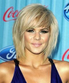Hairstyles For 2013 Layered With Choppy Bangs | Kimberly Caldwell Hairstyle - Casual Medium Straight Hairstyle - 9163 ...