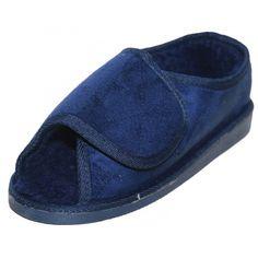 11eea7ce5dcf Mens Or Ladies Very Wide Fitting Velcro Memory Foam Insole Open Toe Slippers.  Jenny Wren Footwear