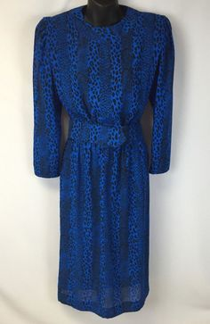 Vintage Cheetah Print Dress Blue and Black Belted Size 10 USA Made Leslie Fay