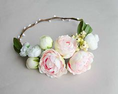 Adorable poppy flower crown with pine cones and wax flowers