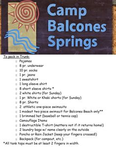 Camp Skyline Packing List Click Through To View The