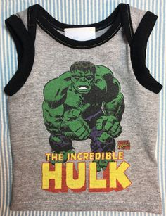 3538842794a Incredible Hulk Bruce Banner tank boy girl baby muscle shirt heather grey  Newborn by Lintytoes on