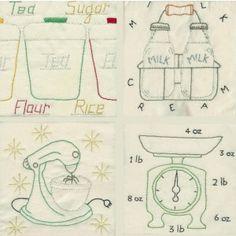 50's kitchen embriodery pattern