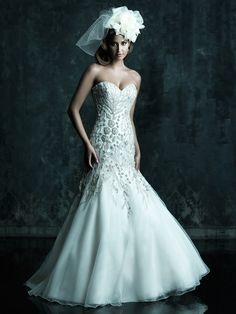 *******Style: C241    A great fit and flare design. This gown features a sweetheart neckline and a fitted, dropped waist bodice adorned with embroidery and Swarovski crystals.   Colors: White/Silver, Ivory/Silver, Ivory/Cafe/Silver  Fabric: Organza and English Net