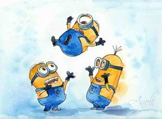 Minions watercolor - Stuart, Kevin and Bob watercolor - Watercolor minion - Watercolor Painting - Wall Decor - Poster Giclee wall print