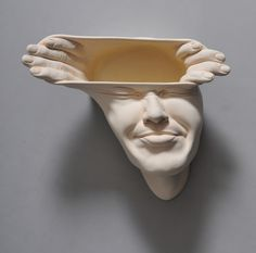 Open Mind surreal face sculpture by Johnson Tsang Chinese art - Chinese sculpture - Asian contemporary art - Face art - Inspiration - My Modern Met - Porcelain Art Bizarre, Weird Art, Johnson Tsang, Art Fantaisiste, Colossal Art, Art Sculpture, Masks Art, Paperclay, Art Moderne