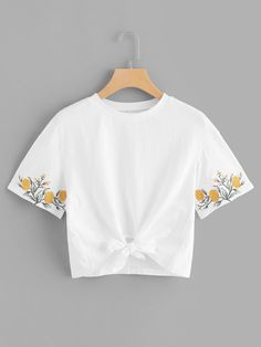 Casual Regular Fit Round Neck Short Sleeve Pullovers White Regular Length Embroidery Sleeve Knot Hem Tee - Casual Regular Fit Round Neck Short Sleeve Pullovers White Regular Length Embroidery Sleeve Knot Hem Tee Source by - Embroidery On Clothes, Embroidered Clothes, Embroidery Fashion, Embroidery Dress, Diy Embroidered Tshirt, Sweater Shirt, T Shirt Diy, T-shirt Broderie, Belly Shirts