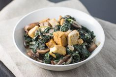 Miso-Creamed Kale and Mushrooms with Tofu~ Culinary Colleen