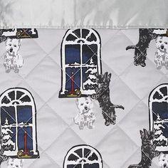 Jeffrey Banks Down Alternative Holiday Blanket with Satin Trim Scottie Dogs, Scottish Terriers, Banks, Alternative, Satin, Holiday, Vacations, Scottish Terrier, Elastic Satin