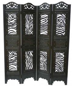 Buyers Choice Decorative 4 Panel Wood Room Divider Screen -Zebra Pattern - 245-SCREEN.ZEBRA