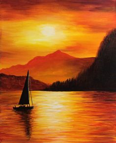 Easy Landscape Paintings, Watercolor Landscape, Landscape Art, Landscape Edging, Contemporary Landscape, Landscape Photography, Sunset Paintings, Landscapes To Paint, Sunset Painting Easy