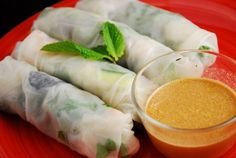 Shrimp Spring Rolls with Peanut Lime Dipping Sauce