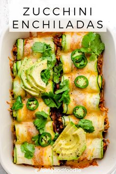 Swap the tortillas for thinly sliced zucchini, and sub cheese for Kite Hill. Try this low carb keto friendly Zucchini Enchiladas. They're made with shredded chicken and sure to impress Veggie Recipes, Healthy Dinner Recipes, Low Carb Recipes, Mexican Food Recipes, Healthy Snacks, Vegetarian Recipes, Healthy Eating, Cooking Recipes, Entree Recipes