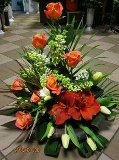 Orange and White Arrangement Contemporary Flower Arrangements, Large Flower Arrangements, Ikebana Flower Arrangement, Altar Flowers, Church Flowers, Funeral Flowers, Memorial Flowers, Arte Floral, Floral Centerpieces