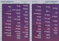 Coachella 2013 schedule for Saturday weekend two