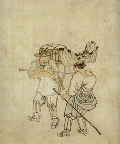 Kim Hong-do Peddler Print of 'Peddler' an original work painted by Kim Hong Do (1745 - 1815?).during the Chosun Dynasty, Kim Hong-do is one of the most famous artists in Korean history and is known for his depictions of daily life during the Chosun Dynasty.