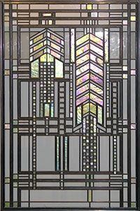 Frank Lloyd Wright leaded glass in the style (as are all of Wright's windows) of the Glasgow school