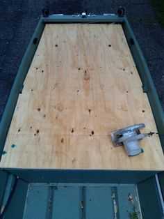 Installing a longer deck on my 10' Jon boat for bow fishing.  I used a 4x8x1/2 sheet of plywood.  Measuring the front taper proved difficult being it was not manufactured uniformly.