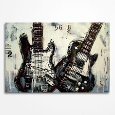 Title: Two guitars  Size: 36 x 24 x 1.5 inches Original Modern Acrylic Painting by Magda Magier Not a print 100% hand painted Signed Comes with a