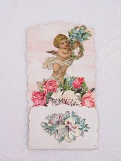 Victorian Vintage Valentine, Fold Down, Cupid With a Wreath