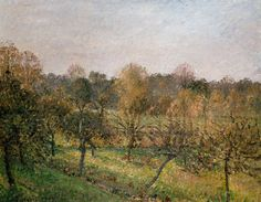 Sunset at Éragny-sur-Epte, Autumn. An oil on panel by Camille Pissarro 1902.