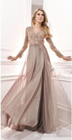 Long Sleeves Elegant A Line V Neck Evening Dress With Lace Appliques Custom Made Chiffon Long Prom Gowns Vestido Longo