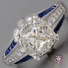 Deco Platinum Engagement Ring - Certified 3.35ct L/VVS Diamond