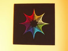 Eight lines of nails and just under 8 metres of cotton thread per colour, on black felt over wood (60cm x 60cm)...