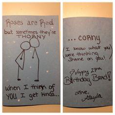 Creations by Gayla: Funny Birthday Card for boyfriend, girlfriend, husband, wife... #cornycard #cornypoem