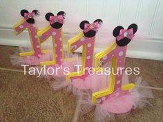 Taylors Treasures - 1st 2nd 3rd Birthday Centerpiece - Photo Prop - Minnie Mouse Tutu Cake Topper -Cake Smash - Any Color Perfect for Photo on Etsy, $15.99