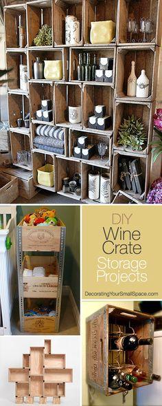 Diy Crafts Ideas : DIY Wine Crate Storage Projects Creative ideas & lots of tutorials! Diy Projects To Try, Home Projects, Craft Projects, Pallet Crates, Wine Crates, Pallets, Crate Storage, Storage Ideas, Wine Storage