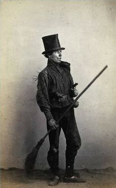Chimney sweep about 1800. Note the bent knees and odd stance.
