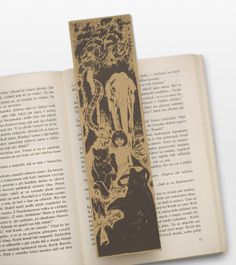 Mowgli Bookmark, with surrounded by friends Baloo, the bear and Bagheera, the black panther My Bookmarks, Classic Literature, I Love Books, My Passion, Black Panther, Book Worms, Handmade, Bear, Friends