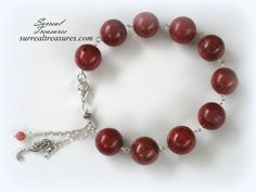 Silver and Red Coral  Bracelet.. Sterling by SurrealTreasures