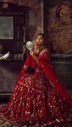 Designer Bridal Lehenga, Indian Bridal Lehenga, Indian Bridal Outfits, Indian Bridal Fashion, Pakistani Wedding Dresses, Red Lehenga, Anarkali Bridal, Pakistani Bridal Wear, Heavy Lehenga