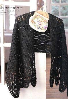 Black Tip Stole free crochet graph pattern