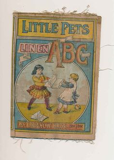 Vintage cloth book for children Little Pets ABC's by mudintheUSA