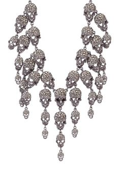 "Meghan LA Blowout  Skull Chain Necklace   Black rhodium plated triple chain link bib necklace with dangling crystal accented skull charms  - Lobster clasp  - Approx. 18"" L x 2.5"" W  - Imported  Retails for $675.00"
