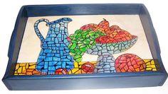CLAF - Linda Bandeja de cerámica Diseño Mosaico COD 149 - Bandeja Base bandeja de cerámica. Diseño pintado a mano. Borde y manillas de madera.