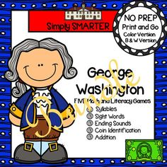 Are you looking for NO PREP literacy and math games? Then download this bundle and go!  Enjoy this phonics and math resource which is comprised of FIVE different GEORGE WASHINGTON themed games complete with a color version and black and white version of each game.