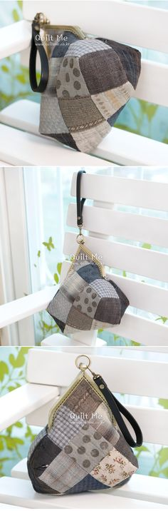 퀼트미 [삼각프레임 패치워크 파우치] Frame Bag, Patchwork Bags, Crochet Bikini, Coin Purse, Pouch, Purses, Home Decor, Clutch Purse, Coin Purses