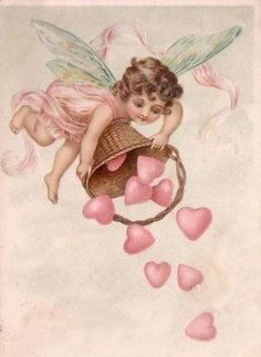 Thinking of sharing the Valentine's Day love? Check out these 3 charitable ways to celebrate Feb. 14. (Cupid fairy with basket of hearts_sharonscottagequilts-blogspot)