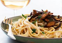 Pasta Carbonara with Shiitake Bacon--from Chloe Coscarelli's New Cookbook!
