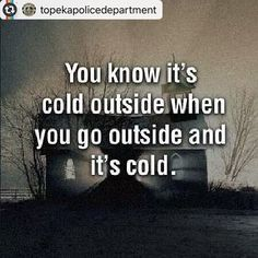 "10 points to whomever is managing the Topeka Police Department social media accounts. Love it! #Reposting @topekapolicedepartment with ""We've got some winter weather coming at us this weekend. You've got plenty of time to go buy milk and candles and stuff.  Don't wait till it's all icy and slick cause then you'll miss your driveway and slide into your neighbor's yard and they'll call us and it'll be awkward."""