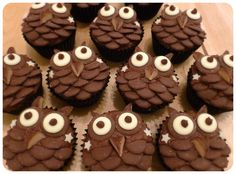 Owl Cup Cakes | these chocolate owl cupcakes were so much fun to make i had a hoot tee ...