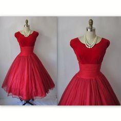 50's Chiffon Dress // Vintage 1950's Red Chiffon Velvet Cocktail Party Prom…