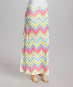 Look what I found on #zulily! White & Pink Zigzag Fold-Over Maxi Skirt by Casa Lee #zulilyfinds